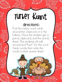 Turkey Hunt {Word Family Activity}