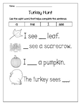 Fall Sight Word Writing for Kindergarten and First Grade
