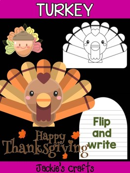 Turkey with Acorns - Jackie's Crafts Activity, Writing, Thanksgiving Craftivity