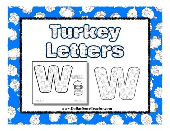 Turkey Letter Coloring Sheets - Thanksgiving, Autumn, Christmas Writing Center