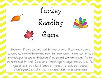 Turkey Letter and Word Reading Game