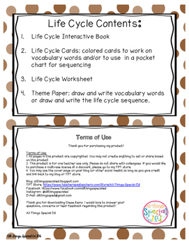 Turkey Life Cycle adaptive book and activities
