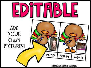 Turkey Literacy Center - EDITABLE Nouns or Verbs Center
