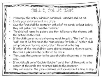 Thanksgiving: Turkey Literacy Game Pack