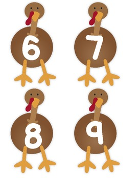 Turkey Lurkey Feather Matching Game - Numbers 6-10