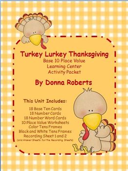 Turkey Lurkey Thanksgiving base 10 place value math learning center activity