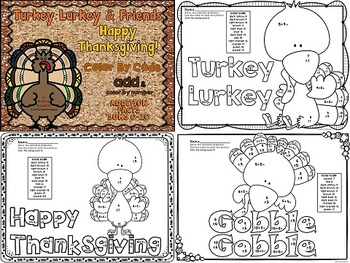 Turkey Lurkey and Friends! Thanksgiving color by code color by number sums 0-20
