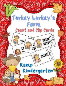 Turkey Lurkey's Farm Count and Clip Cards (Quantities to 20)