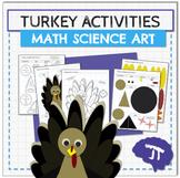 Turkey MATH SCIENCE and ART Thanksgiving Activities
