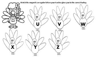 Turkey Magnet/Letter Manipulative Matching Board