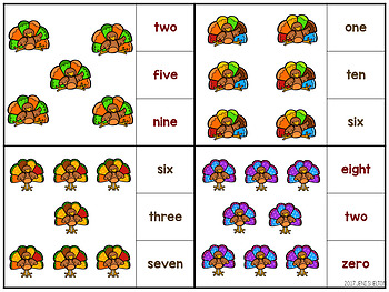 Turkey Match and Clip Card Bundle for Toddlers, Preschool, and PreK