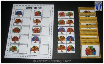 Turkey Matching Board + Memory Cards Thanksgiving