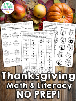 Turkey Math Activities, Games, & Fact Practice