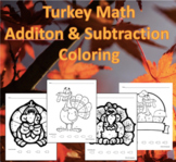 Turkey Math Addition & Subtraction Coloring