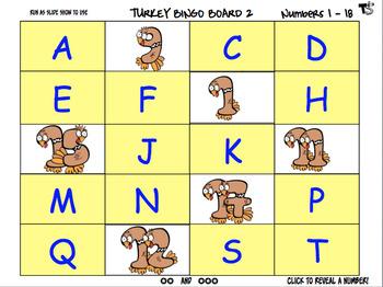 Turkey Math Bingo