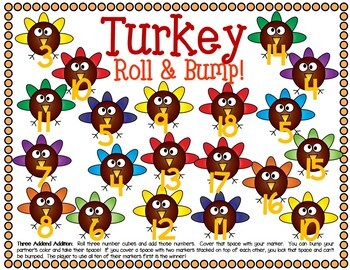Turkey Math Center Dice Games