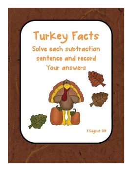 Turkey Math Center Game Subtraction