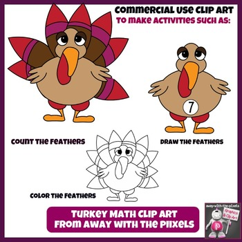 Turkey Math Clip Art Set 1 - 10 - Color and Blacklines!