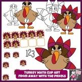 Turkey Math Clip Art Set 1 - 10 - Color and Blacklines!