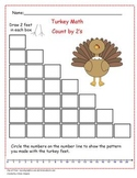 Turkey Math Counting by 2's Number Line Mental Math