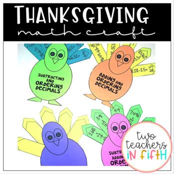 Turkey Math Craftivity: Adding, Subtracting, & Ordering Decimals {editable}