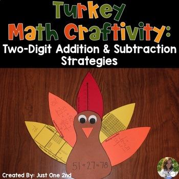 Turkey Math Craftivity: Two-Digit Addition & Subtraction Strategies