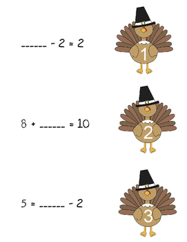 Turkey Math {Determining the unknown number in addition and subtraction}