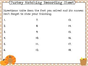 Turkey Math Facts Matching
