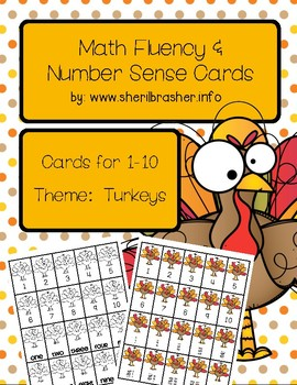 Turkey Math Fluency & Number Sense Cards | English | 1-10