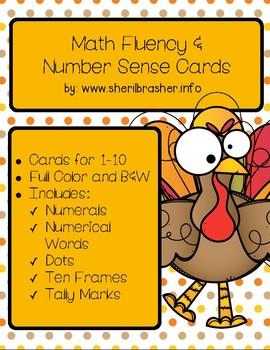Turkey Math Fluency & Number Sense Cards | Spanish | 1-10