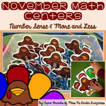 November Turkey Math Centers: Number Sense & More and Less