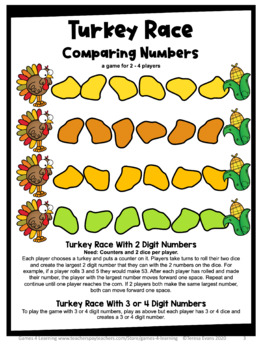 Turkey Free: Turkey Math Board Game