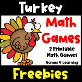 Free Turkey Math Games for a Thanksgiving Math Activity