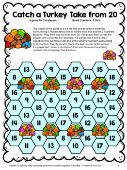 Turkey Math Games Addition and Subtraction: Thanksgiving Math Turkey Activities