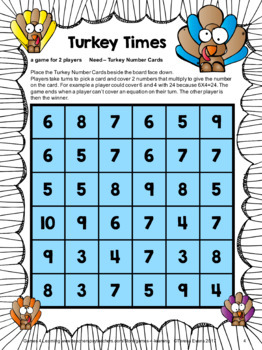 Turkey Math Games: Multiplication and Division Games