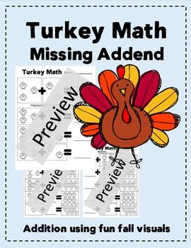 K, 1st, 2nd Grade Turkey Math, Missing Addend