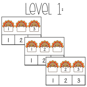 Turkey Math: Missing Numbers Task Box **TWO LEVELS**
