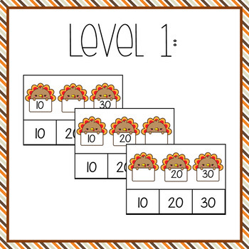 Turkey Math: Skip Count by 10s Task Box Activities**TWO LEVELS**