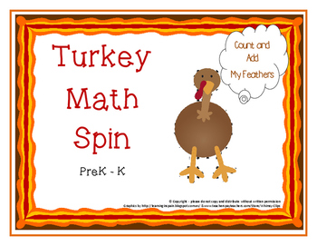 Turkey Math Spin - add count pattern sort.. aligned to PreK and K math standards