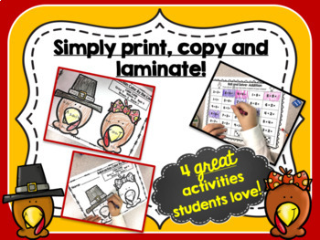 Turkey Math Stations {Thanksgiving Math Centers}