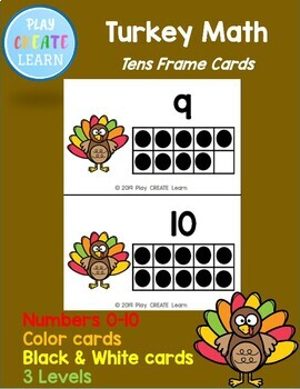 Turkey Math Tens Frames (3 versions in color and black and white)