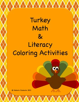 Turkey Math and Literacy Coloring Activities