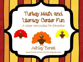 Turkey Math and Literacy Center Mini Packet