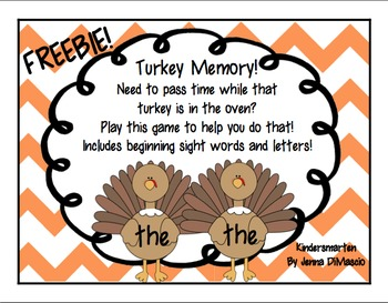 Turkey Memory Freebie! (Sight Words and Letters)