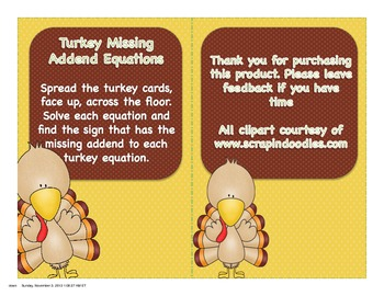 Turkey Missing Addend Equations