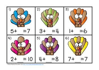 Turkey Missing Number Equations Task Cards FREEBIE
