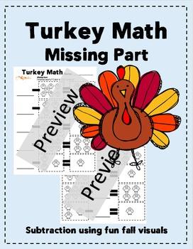 K, 1st, 2nd Grade Turkey Math, Missing Part