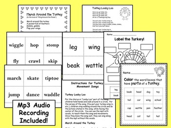 Thanksgiving Songs: Turkey Songs with Movement! Mp3, Printables