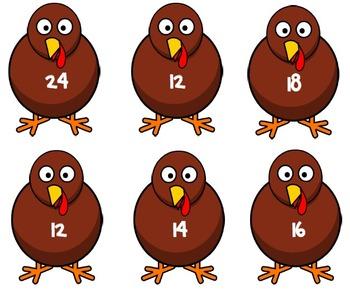 Turkey Multiplication Match-Up Thanksgiving Math Center / Activity