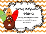 Turkey Multiplication Match-Up Thanksgiving Math Center /
